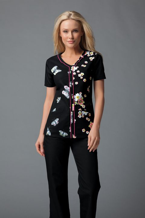 "Runway ""Butterfly Noir"" Women's V-Neck Top | #nurse #scrubs | #nurse #fashion | #printscrubs"