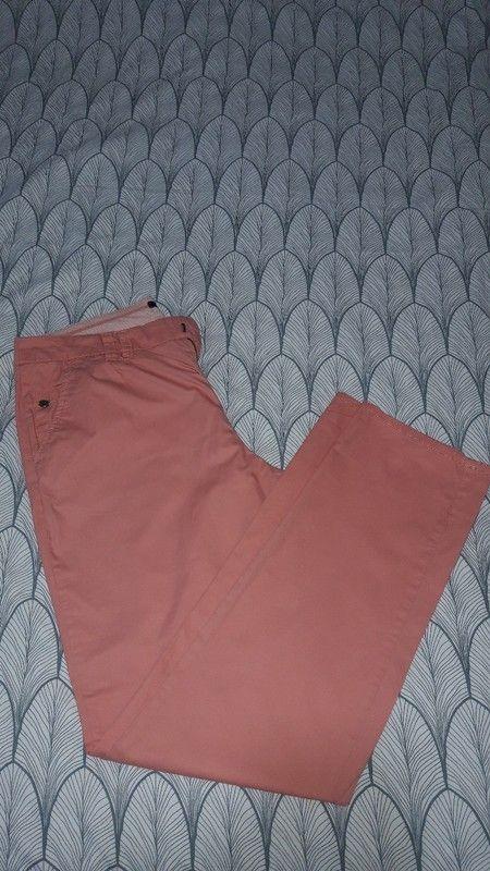 Pantalon léger en toile rose corail promod