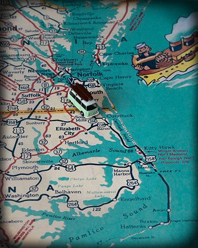 Virginia Beach & North Carolina Retro Map with VW Volkswagen Bus Surfer