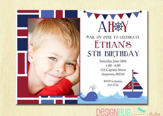 Boys Nautical Birthday Invitation   First by DesignBugStudio, $12.00