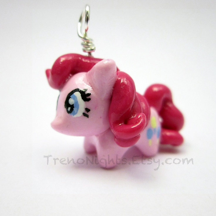 My Little Pony Friendship is Magic Pinkie Pie charm- Keychain, necklace, or cell phone strap. $15.00, via Etsy.