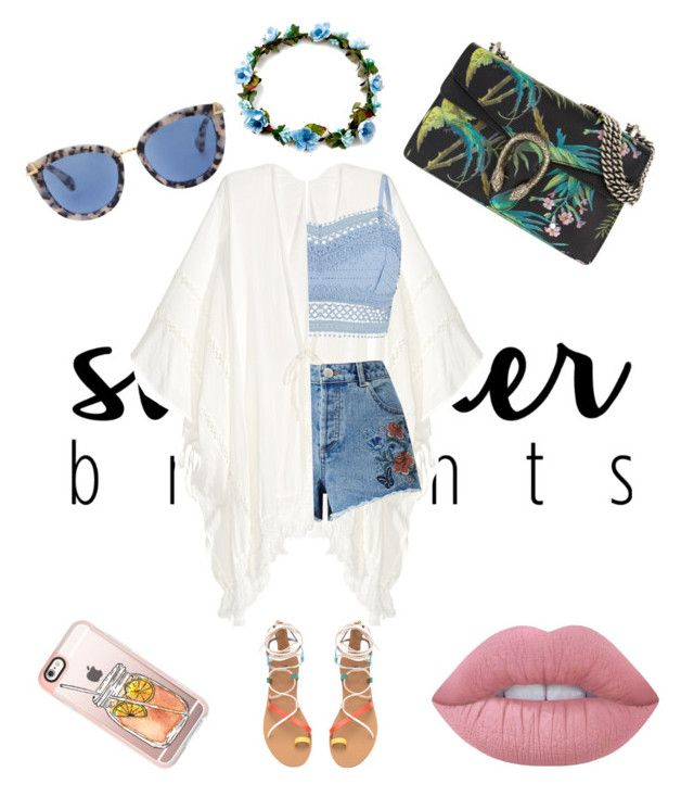 tourist outfit by magdons on Polyvore featuring moda, Lipsy, Miss Selfridge, Gucci, Casetify and Lime Crime
