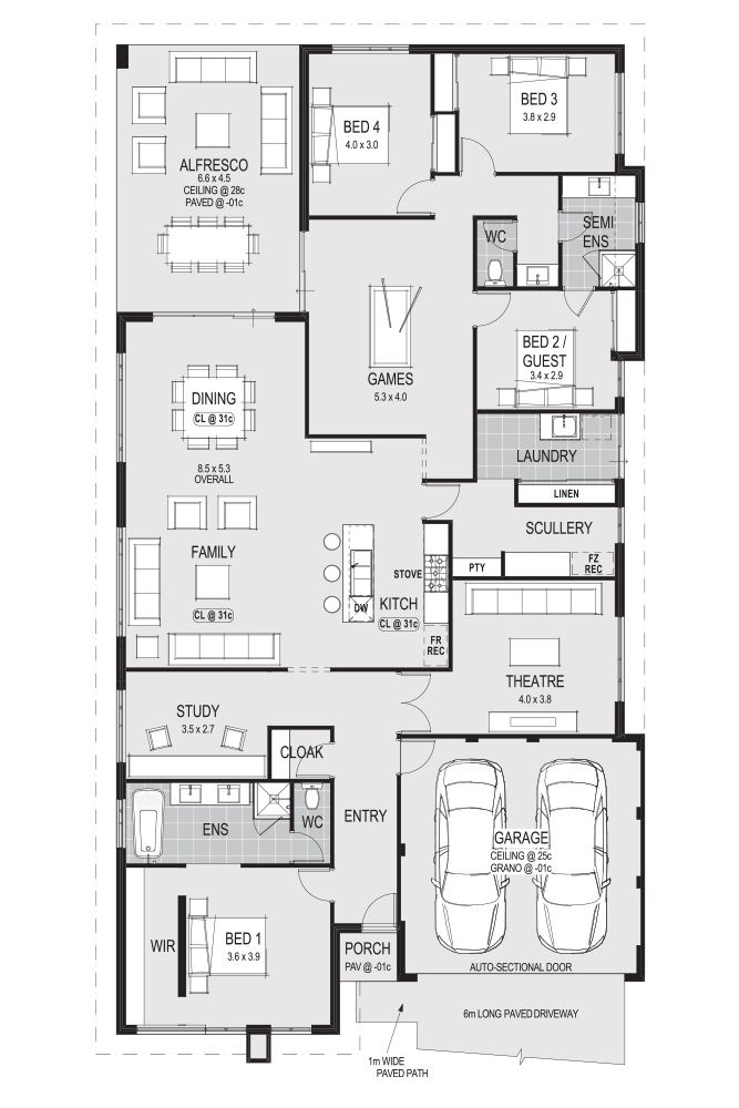 Laundry scullery the mediterranean home floor plans for Home layout design