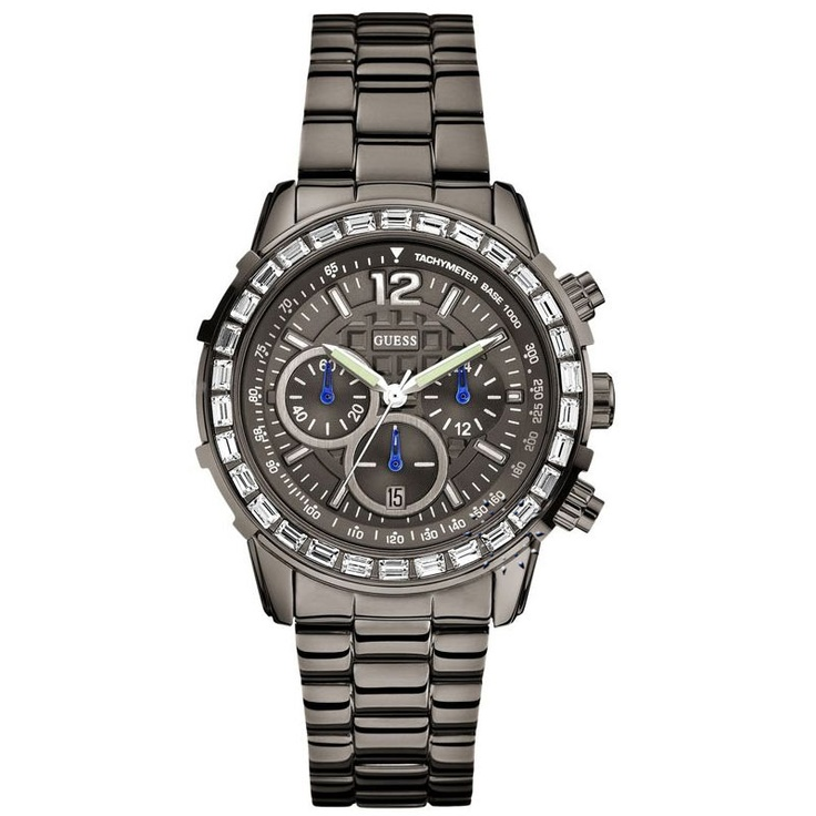 GUESS Crystal Gunmetal Stainless Steel Bracelet Μοντέλο: W0016L3 Τιμή: 219€ http://www.oroloi.gr/product_info.php?products_id=29273