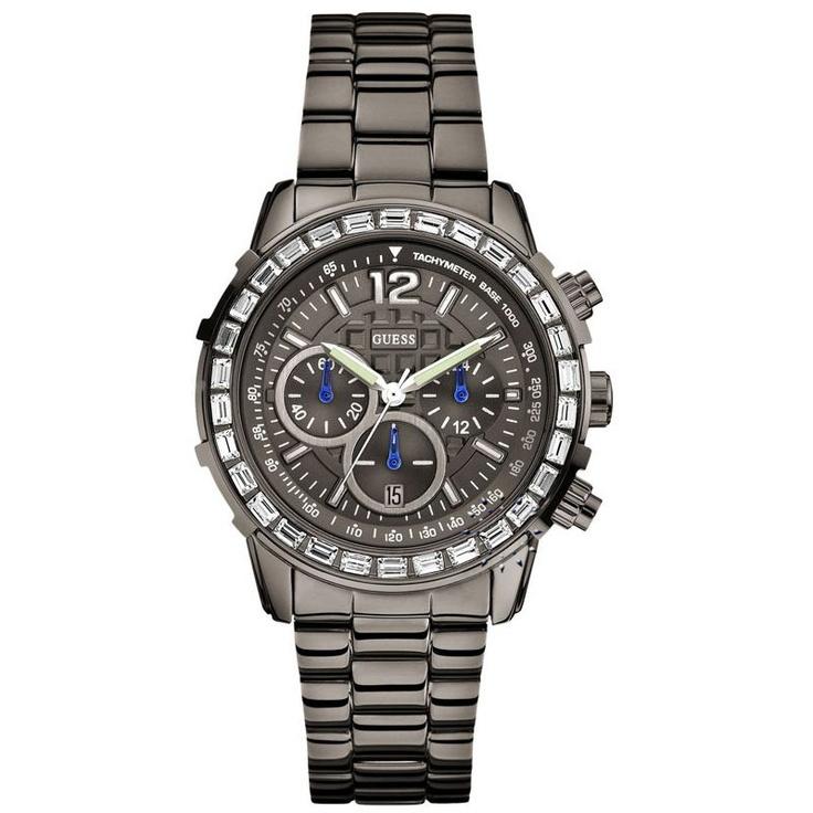 GUESS Crystal Gunmetal Stainless Steel Bracelet Μοντέλο: W0016L3 Τιμή: 219€ http://www.oroloi.gr/product_info.php?products_id=29273