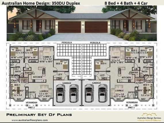 393 0 M2 Or 4230 Ft2 8 Bed Duplex Design Modern Duplex Etsy In 2020 Duplex Design Duplex House Design Duplex Plans