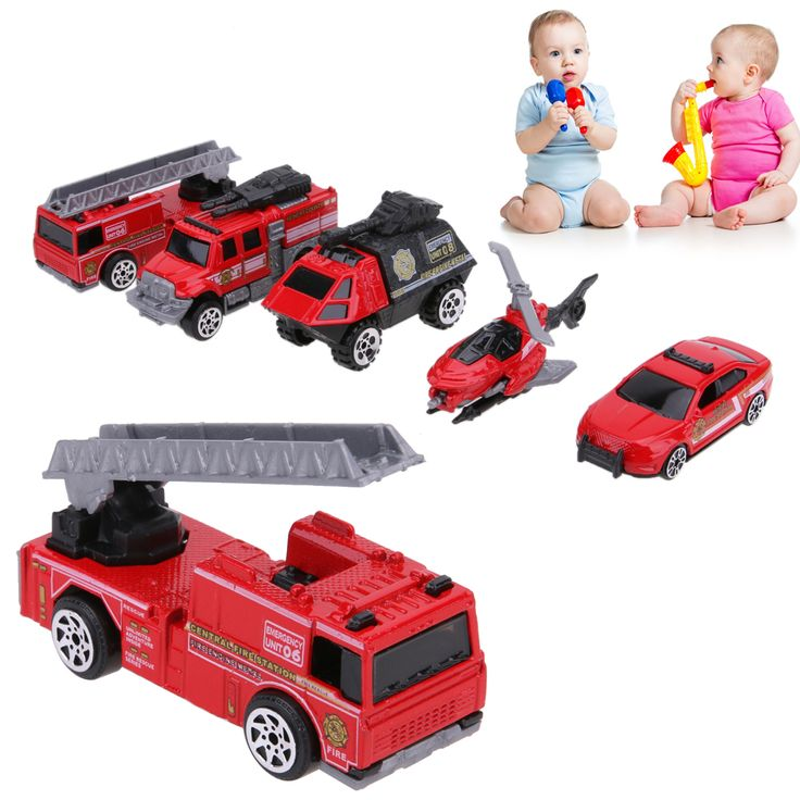 5Pcs Baby Car Model 1:64 Scale Alloy Fire Fighting Truck Models Kids Children Pull Back Car Playing Toy Christmas Set