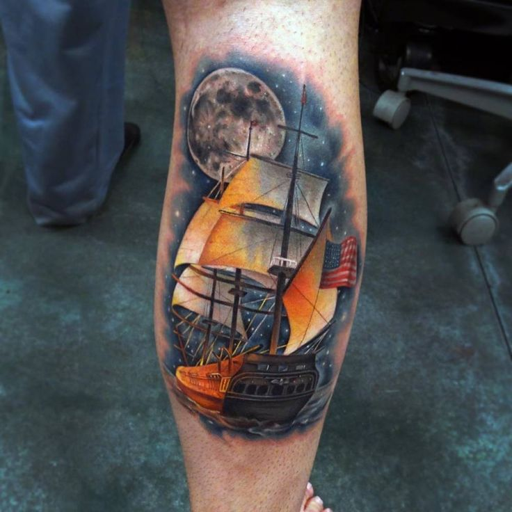 Tatuaje de la fragata USS Constitution.