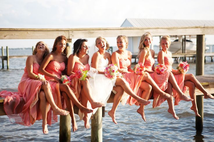 Fun bridal party, bridesmaids on river dock, river wedding, bridesmaids, dresses, pink dresses, salmon bridesmaid dresses, Florida wedding, Melbourne Florida wedding, Henk Prinsloo Photography