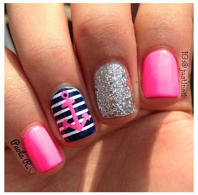 Sailor pink nails #nails #girls #summer #spring #style #fashion #trend #winter #ootd #nailart #dots #glitter #sparkle #heart #love #stripnails #nailart #naildesign #nailporn