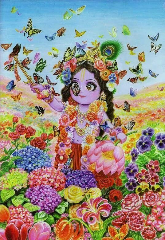 Little Krishna smothered by butterflies in a valley of flowers as he is much sweeter than all those flowers.