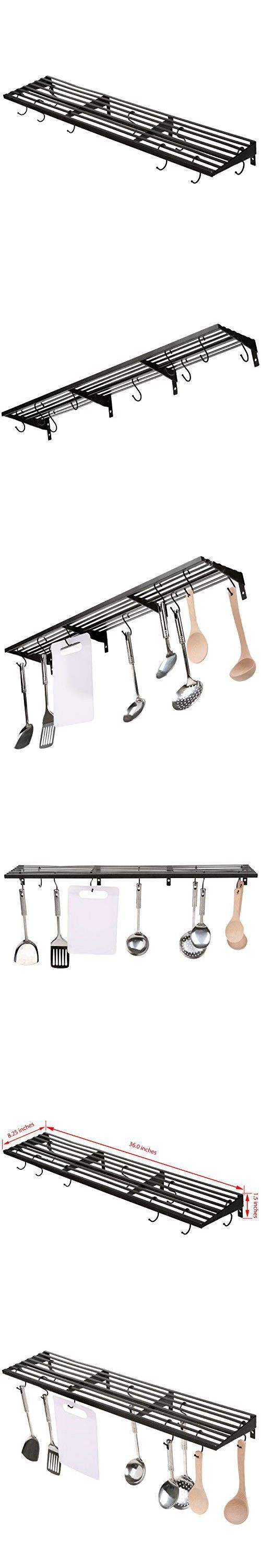 MyGift Wall Mount Pot Rack, Kitchen Storage Shelf w/ Pan & Utensil Hooks, Black