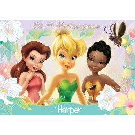 Personalised Disney Fairies Pixie Dust Placemat - Make meal time fun with this colourful personalised Disney placemat. This gorgeous personalised placemat will also keep your table free from scratches, spills and crumbs.