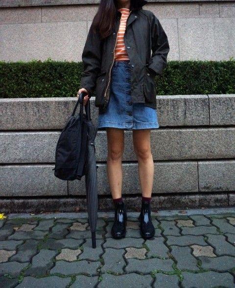 barbour jacket, dailylook, fashion, topshop, juju, rainboots, kanken, uniqlo