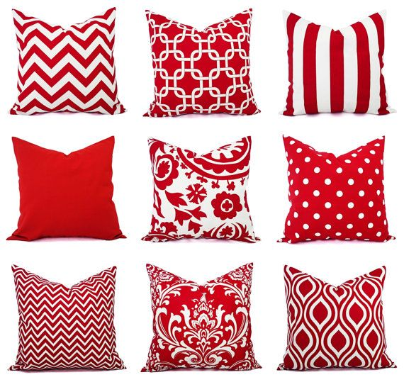 This listing is for ONE Red Pillow Cover!    One red throw pillow cover in a red and white print. The red covers include chevrons, stripes,