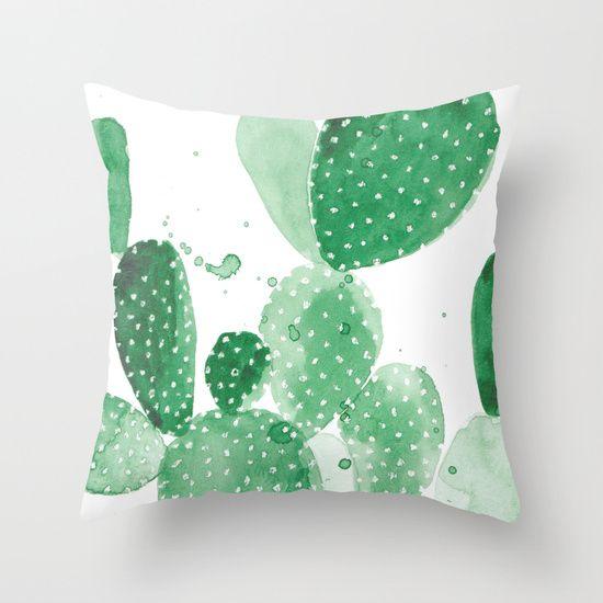 Green Paddle Cactus Throw Pillow