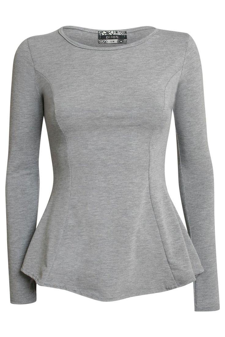 Tanisha Scoop Neck Long Sleeve Peplum Top in Grey                                                                                                                                                                                 More