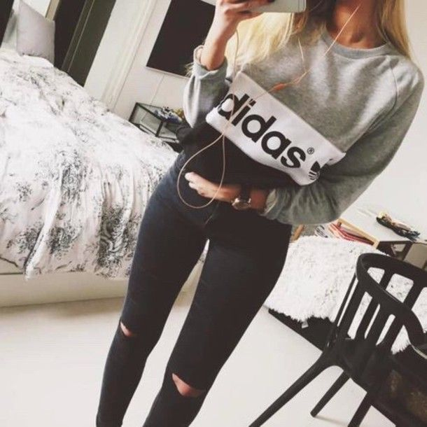 sweater grey jeans adidas black gray white jumper black/grey/white adidas sweather grey white adidas