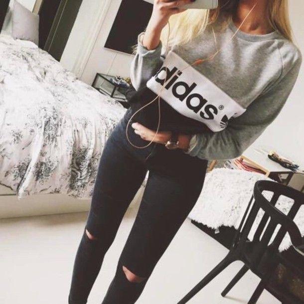 sweater grey jeans adidas black gray white jumper black/grey/white adidas sweather grey white adidas