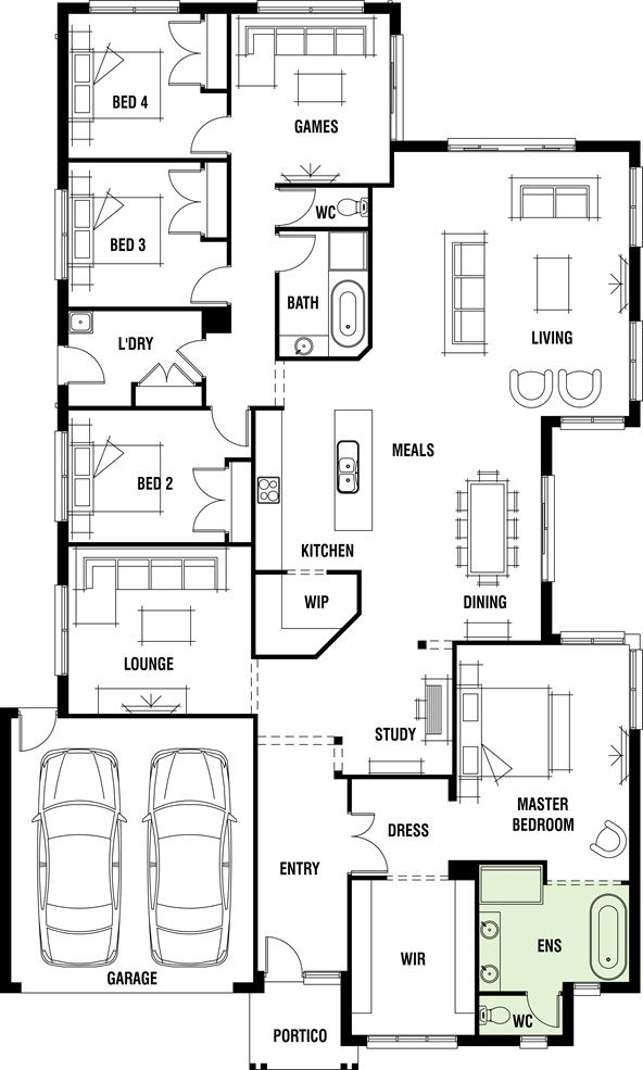 House Design: Dakar - Porter Davis Homes - would remove WIP so you can see kitchen on entry