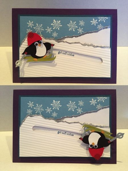 Spinner Get Well Skiing Penguin by karjor - Cards and Paper Crafts at Splitcoaststampers