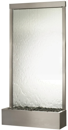 bluworld grande waterwall with stainless steel trim and clear glass indoor