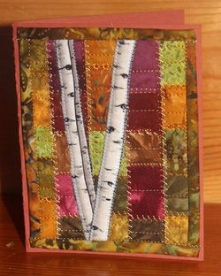 """birch tree card using """"no seams"""" method for the background"""
