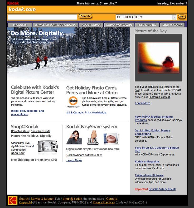 Kodak website in 2002
