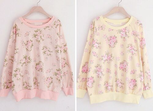 Pretty pink floral sweaters!! Floral patterns are my favorite :)