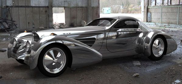 Delahaye USA   Bugnotti Coupe Ride in one of these someday, and model infront of/on it