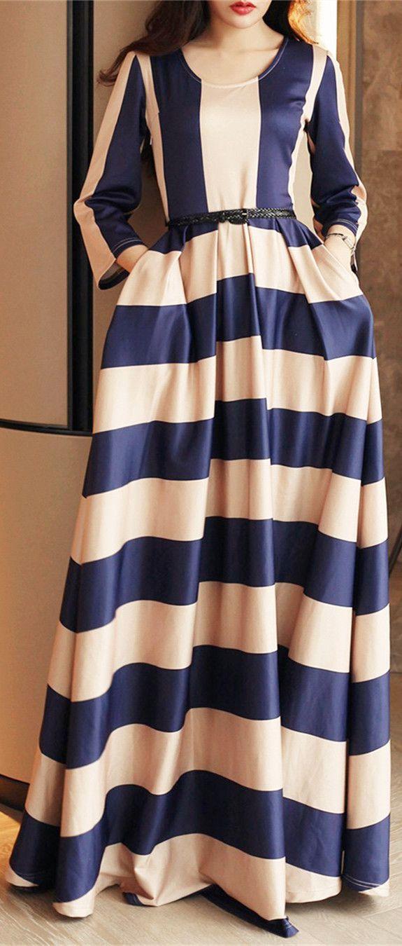 Color Block Stripe Formal Dress