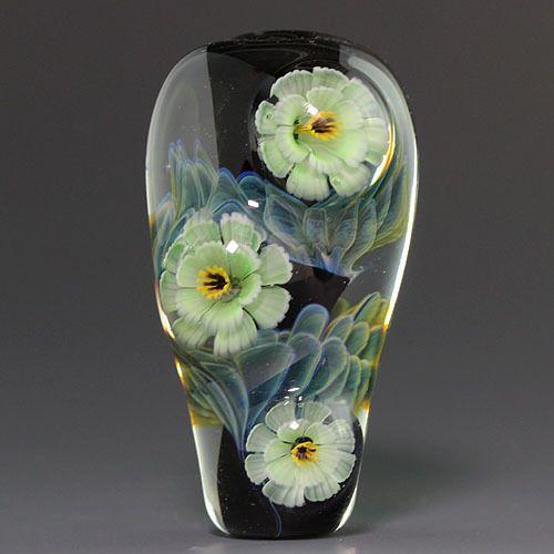 Ikuyoglassart Handmade Lampwork Silver glass Flower Focal Bead sra