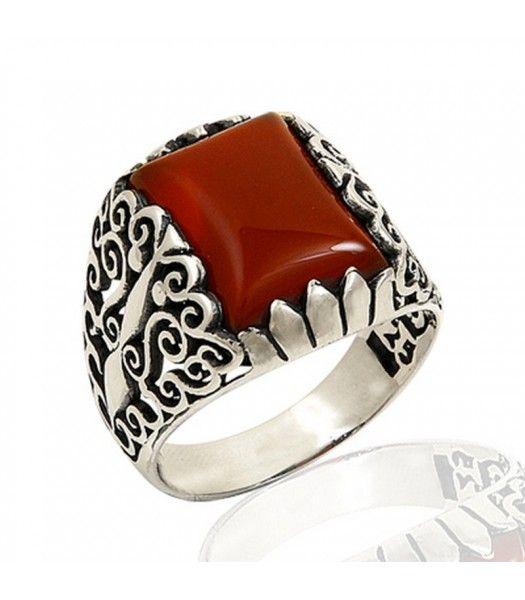 Gümüş 925 Ayar Akik Taşlı Erkek Yüzüğü EY175