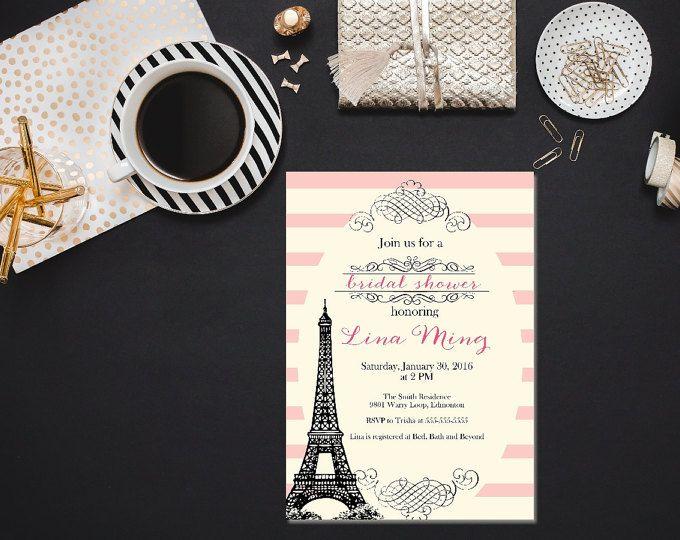 Parisian bridal shower invitation / Printable bridal shower invitation/ Blush bridal shower invitation/ Paris bridal shower invitation