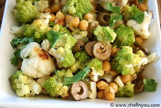 Romanesco broccoli roasted with chickpeas and olives
