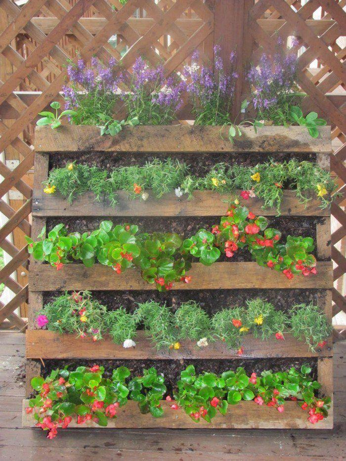 Les 25 meilleures id es de la cat gorie palette de jardin - Planter des herbes aromatiques en jardiniere ...