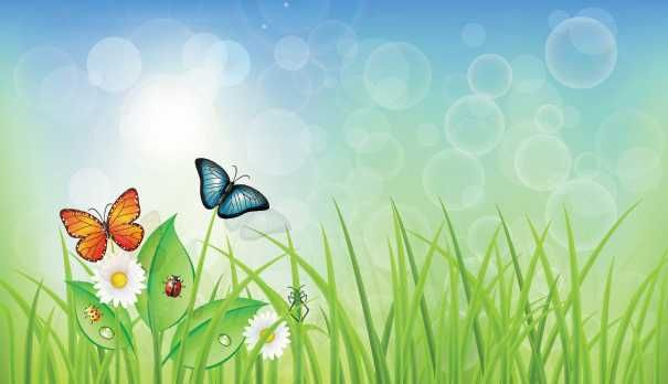 Green Spring Background With Grass & Butterflies - FREE