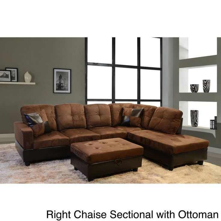 3 Pcs Dark Brown Sectional Sofa Set Microsuede Living Room Faux Leather Ottoman