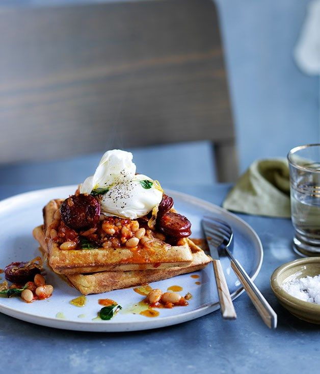 wholemeal waffles with baked beans, chorizo and egg | Gourmet Traveller