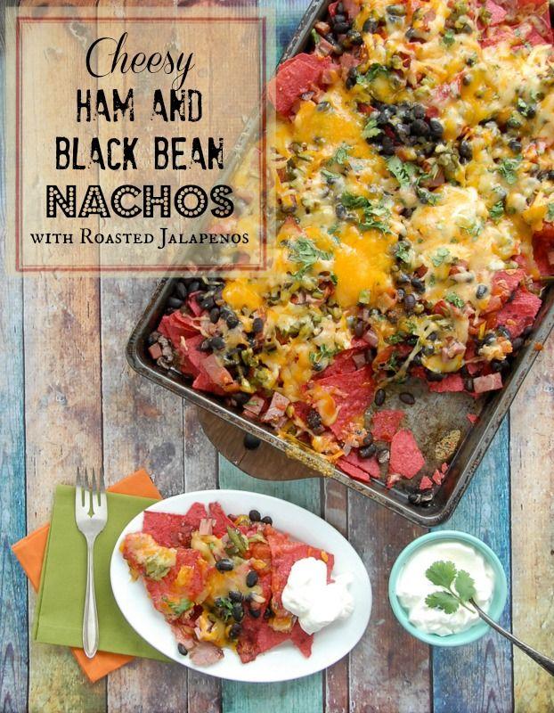 Cheesy Ham and Black Bean Nachos | BoulderLocavore.com: Black Beans, Beans Nachos, Drinks Recipes, Gluten Free, Glutenfree, Mr. Beans, Games Day Recipes, Food Drinks, Cheesy Hams