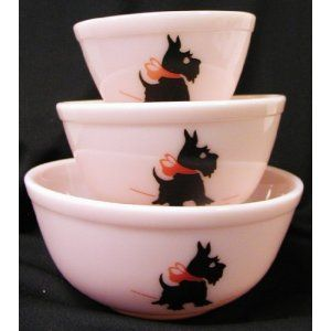 Pink milk glass Scottie Dog nesting bowls