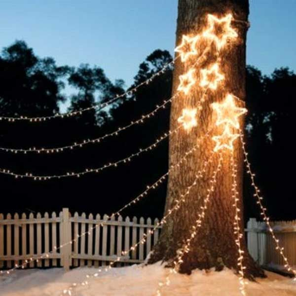 4. Stars…stars…stars…decorate your backyard trees with star Christmas lights. - 10 Cool Ideas to Decorate Garden or Yard Trees for Christmas