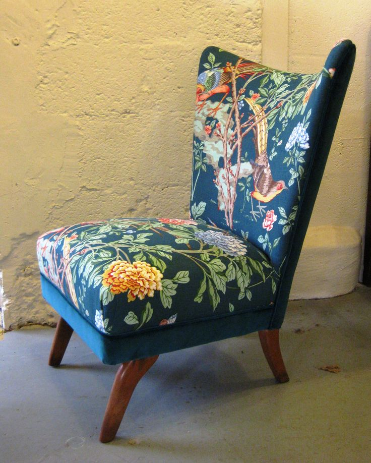 1954 English Howard Keith chair re-upholstered by student at Kendal School of Upholstery