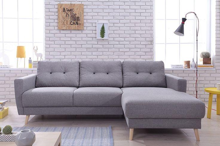 Bestmobilier - OSLO - Canapé d angle droit - 225x147x86cm Couleur - Gris: Amazon.fr: Cuisine & Maison