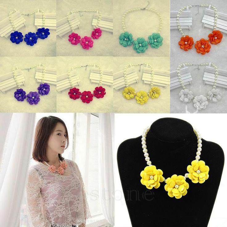 Hot Fashion Faux Pearl Resin Beads Flower Bubble Bib Statement Pendant Necklace