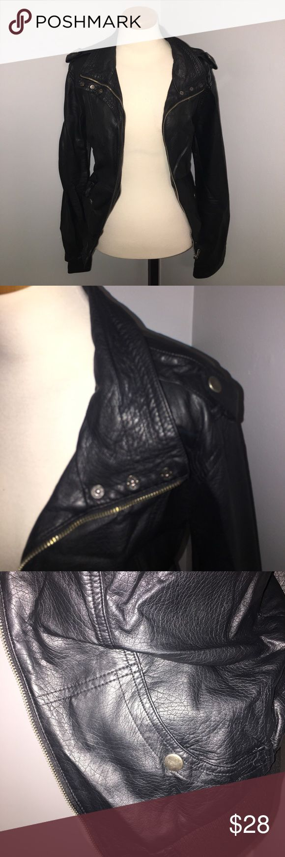 Black leather jacket!! Like new, only worn a handful of times!! Size large New Look Jackets & Coats