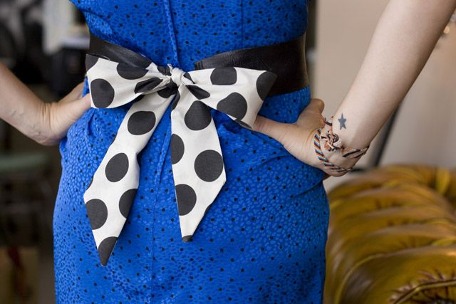 a bit of sunshine: Surprise Party :: Bow Belt from Theresa at Orange Juice Etc.