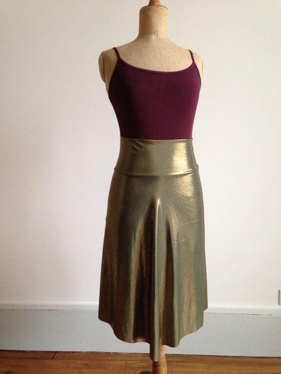 Beautiful asymmetric tango skirt gold and moss by BellaTango