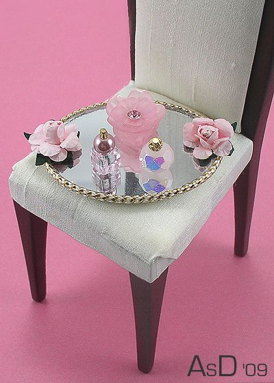 Dollhouse Miniature- Perfume Bottles on Tray - Think Pink -  by Diva Details, via Flickr