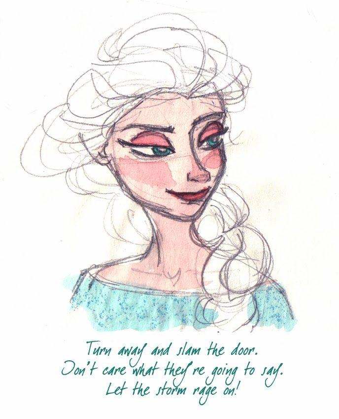 Sketching Elsa from Frozen - Turn away and slam the door. Blog de Isabel Hierro. #Disney #Elsa #Frozen #Watercolor #acuarela #scketch